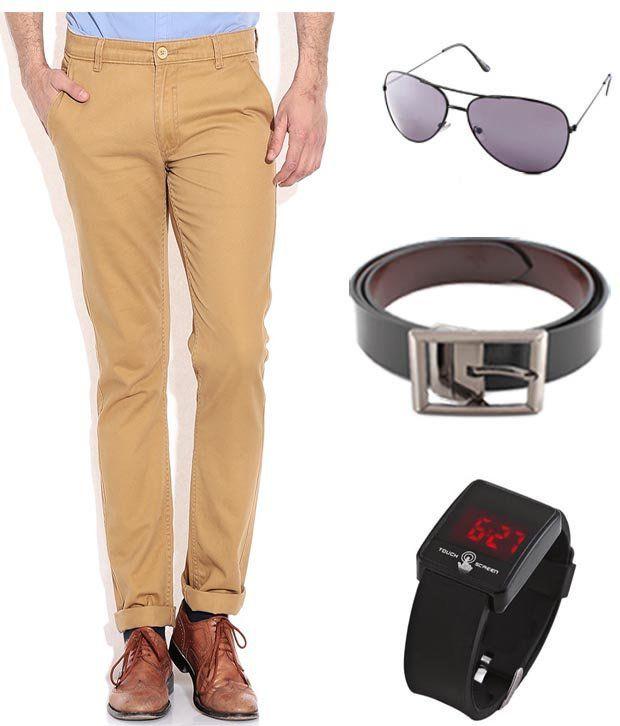 Keepsake Khaki Chinos With Watch , Belt , Aviator Combo