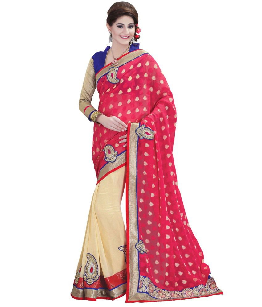 Sareez Shangrila Sarees Red Faux Georgette Embroidered Sarees With Blouse Piece