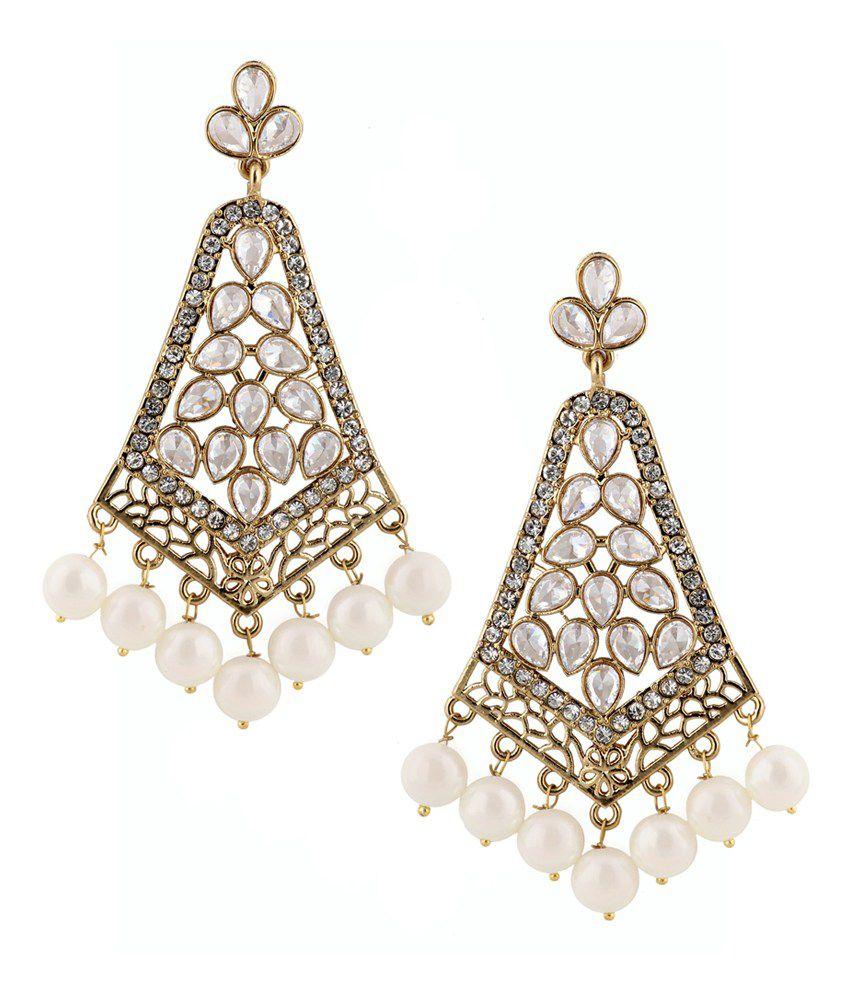 The jewelbox kudan look american diamond pearl long chandelier gold plat earring