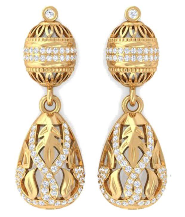 Kreeli 22k Yellow Gold Alisha Diamond Earrings With D-f Vs1 Diamond Quality