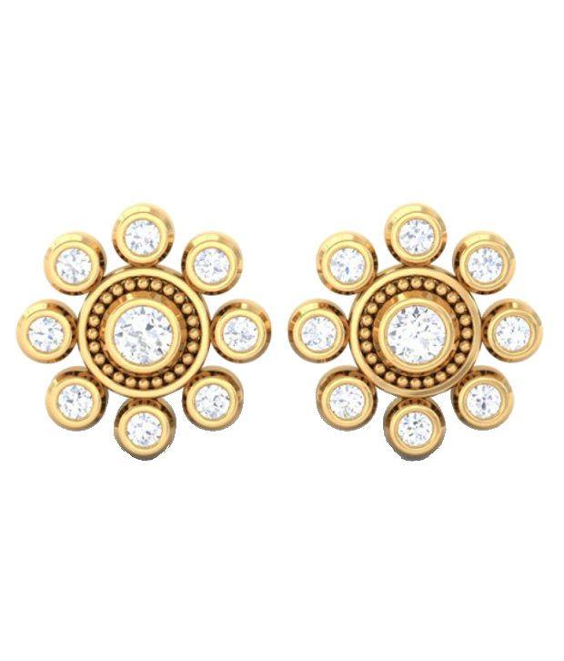 Kreeli 22k Yellow Gold Nidhika Diamond Earrings With D-f Vvs1 Diamond Quality