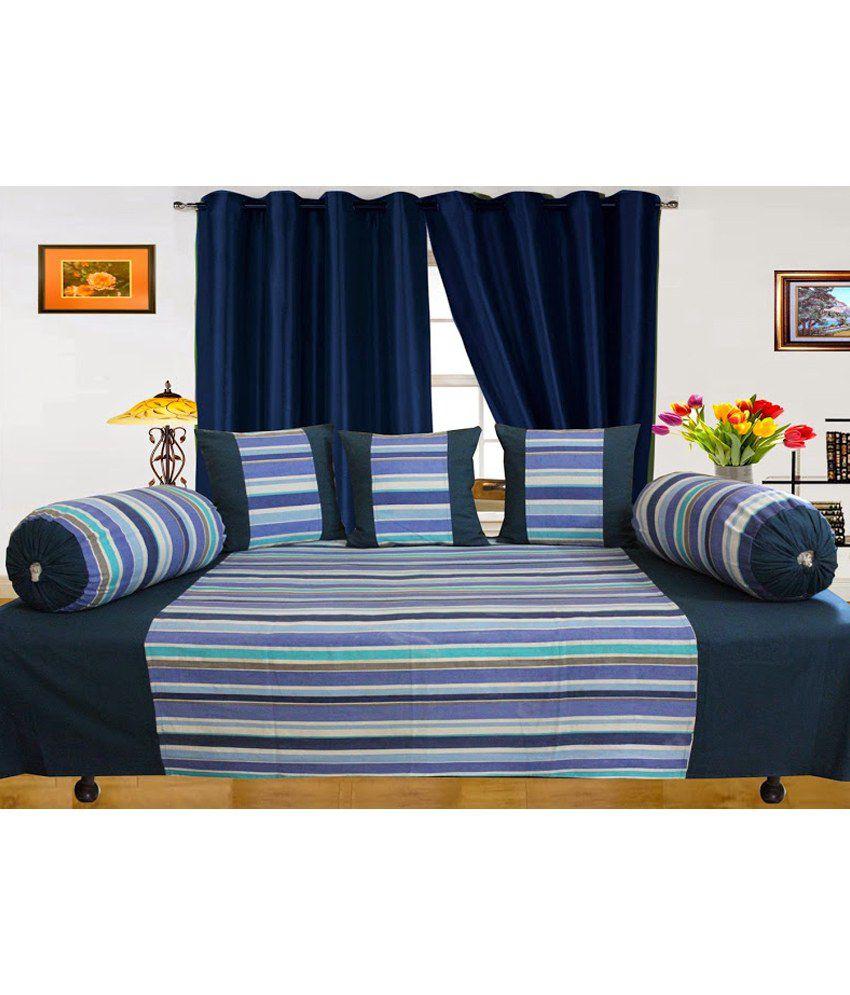Dekor World Blue Stripes Cotton Diwan Set ( 1 Diwan, 3 Cushion Covers, 2 Bolster Covers) (set Of 6)