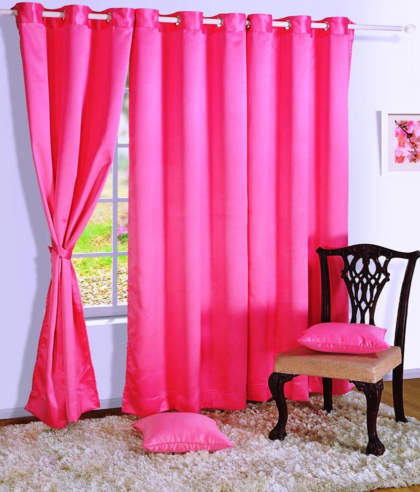 HOMEC Single Door Blackout Curtain Solid Black&Pink