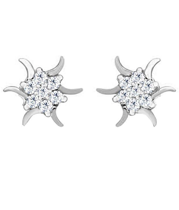 Jacknjewel Gentil Stud , 0.28 Carat Diamond Silver Stud Earrings