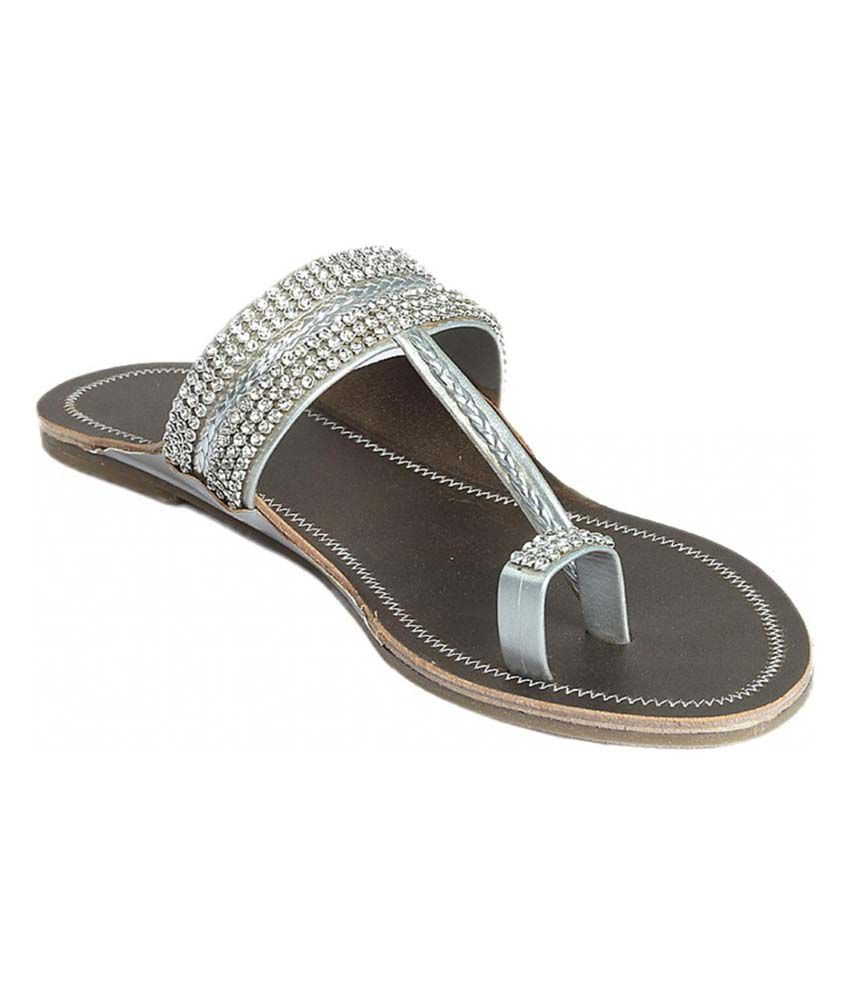 Cobblerone Silver Flat V Strap Round Toe Sandal