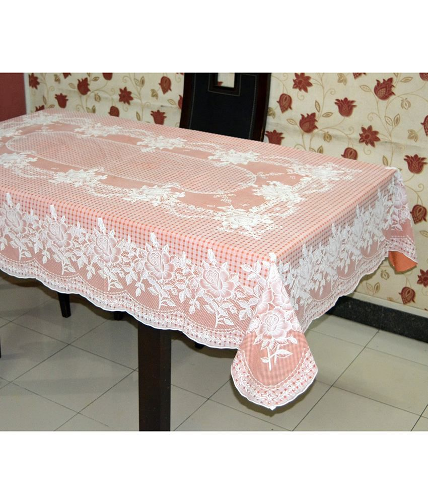 Katwa Clasic - 54 x 78 Inches (Rectangle) Rose Lace Vinyl Tablecloth (Copper)