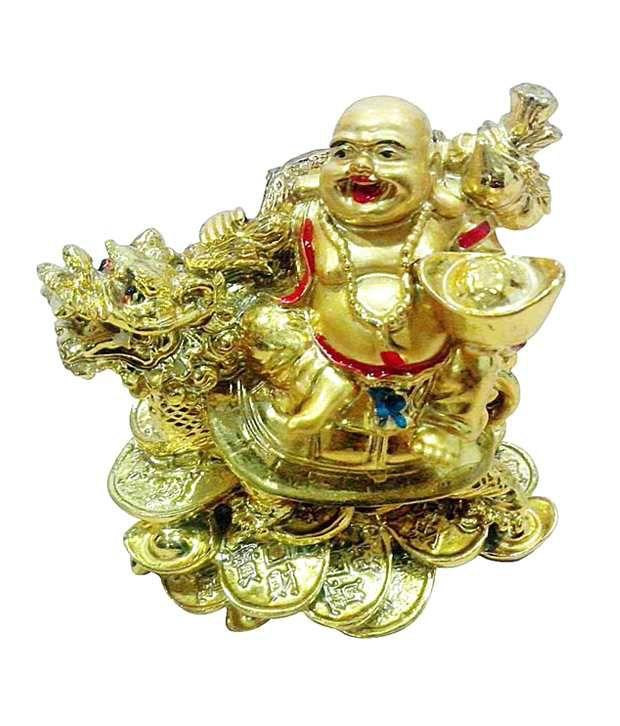 Laughing Buddha Sitting on Dragon Tortoise