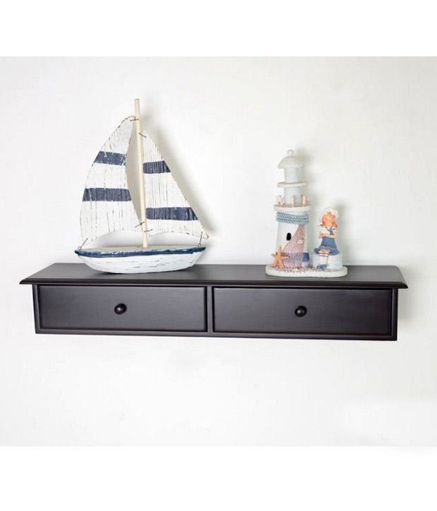 Lifeestyle Two Drawer Wall Mount Cabinet Floating Shelf Wall Shelf