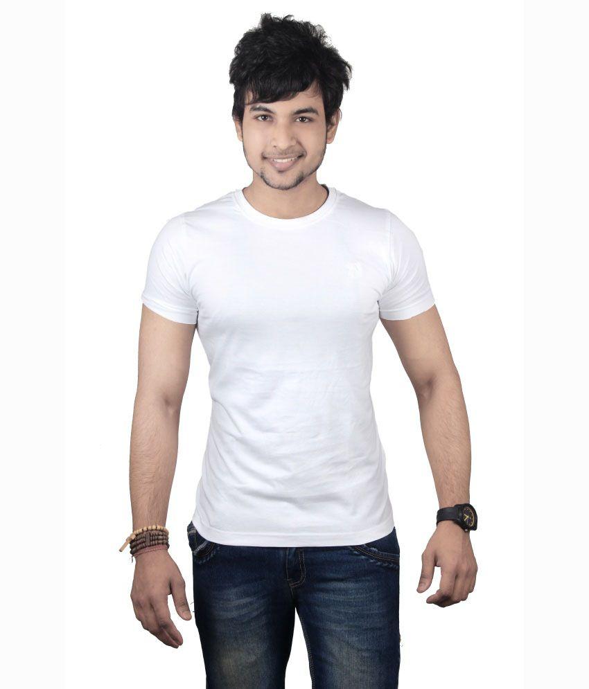 Spur White Cotton Half Sleeve T-shirt