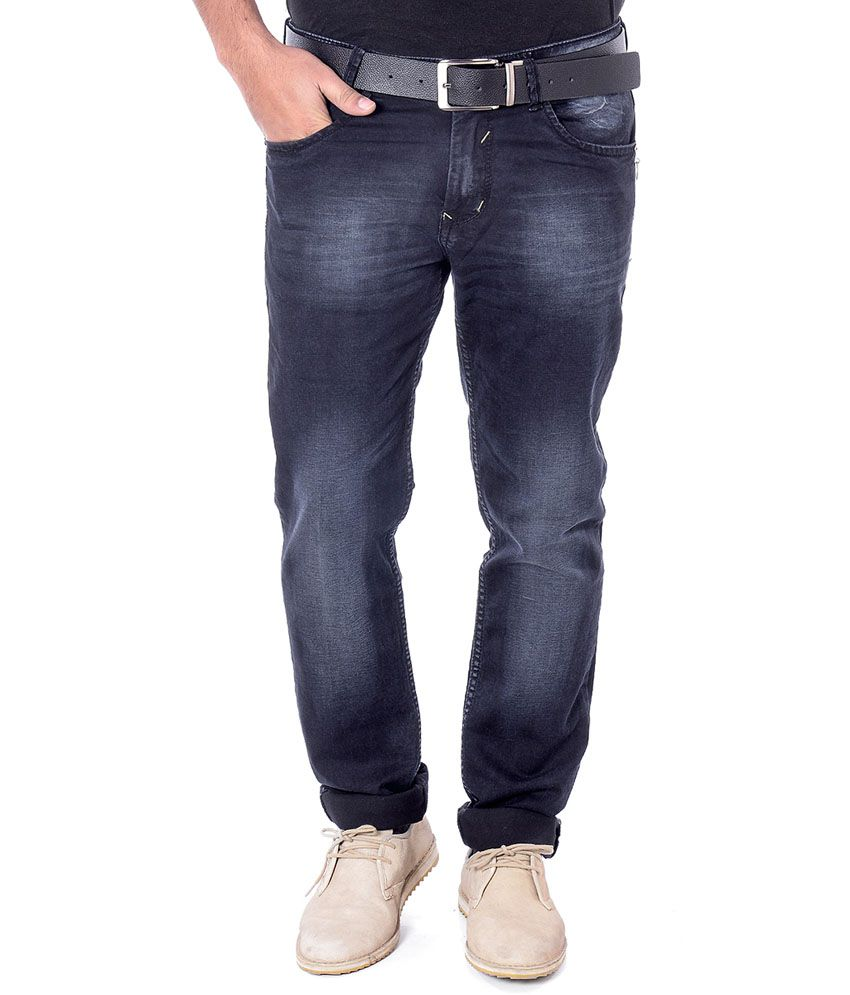 Unison Black Cotton Slim Fit Jeans