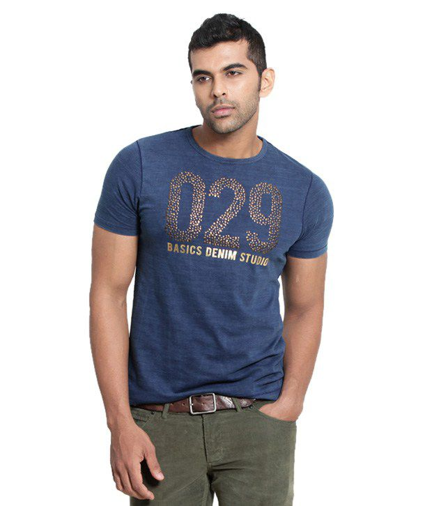 Basics Navy Cotton T-shirt