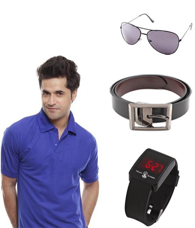 Keepsake Blue T Shirt, Watch, Belt And Aviator Combo