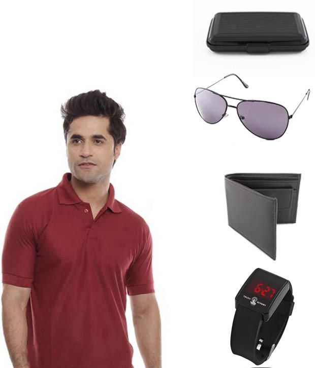 Keepsake Maroon T Shirt, Wallet, Watch,avitor Sunglasses And Card Holder Combo