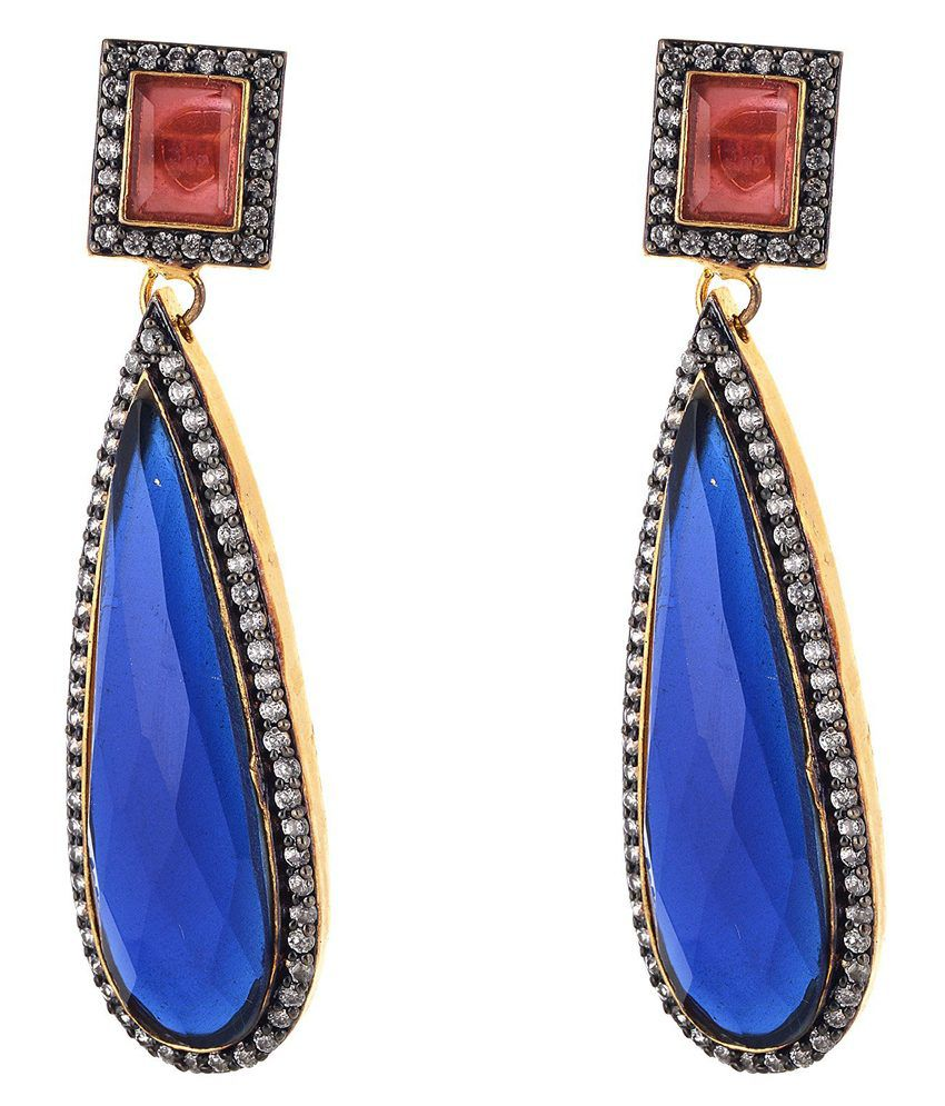 Beyou Red-blue Gold Plated Earring