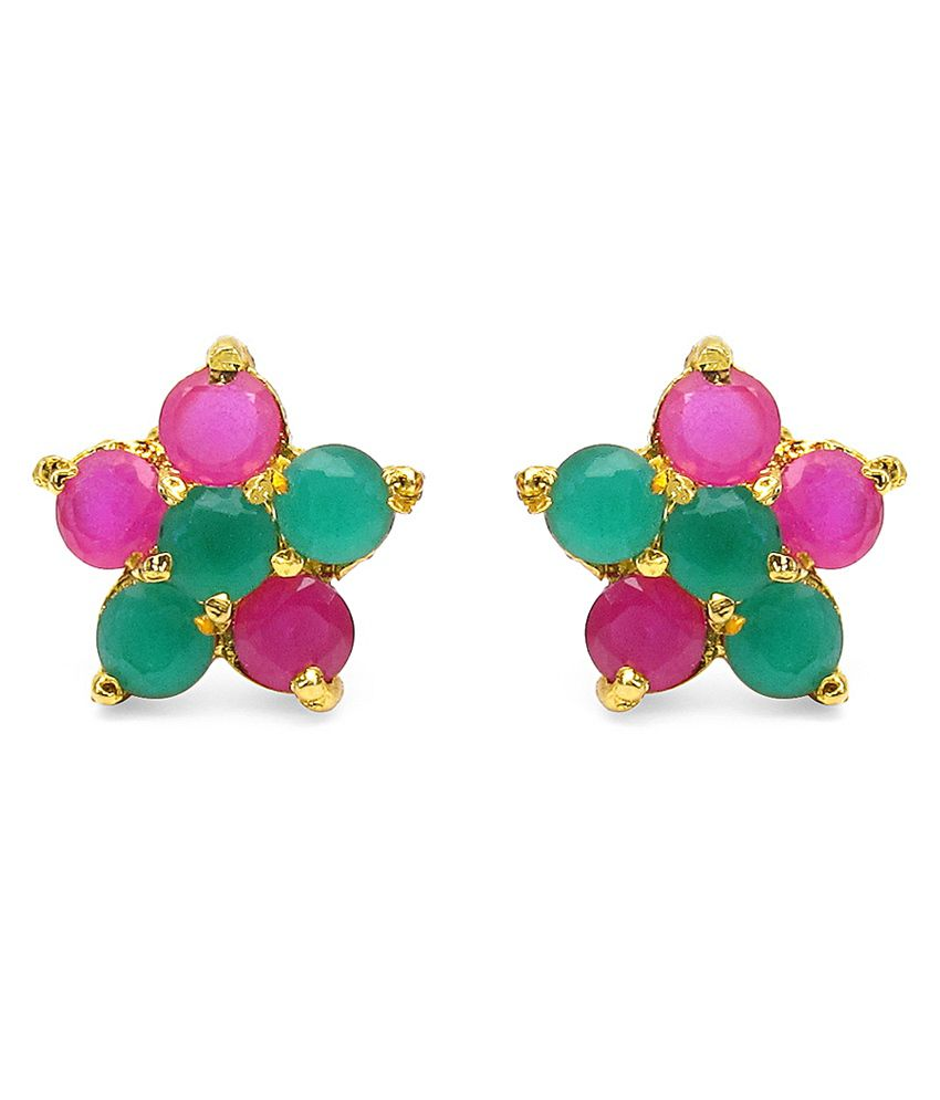 Gleam Touch 3.04 Grams Pink Glass & Green Glass Gold Plated Brass Stud Earrings