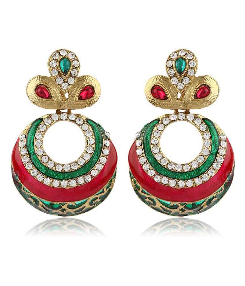 Moedbuille Luscious Elegantly Designed Multi Color Enamelled Ethnic Dangler And Drop