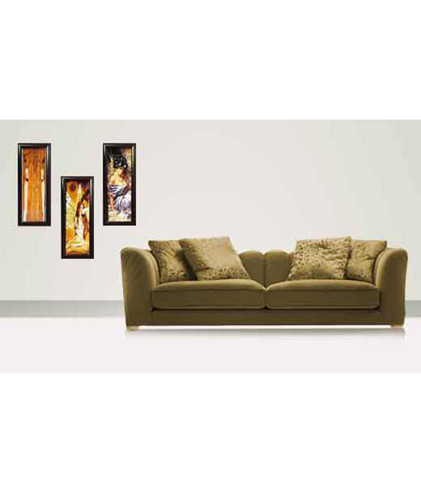 Parv Collections Glossy Combo Of Sensual Ladies 3 Piece Paintings With Glass