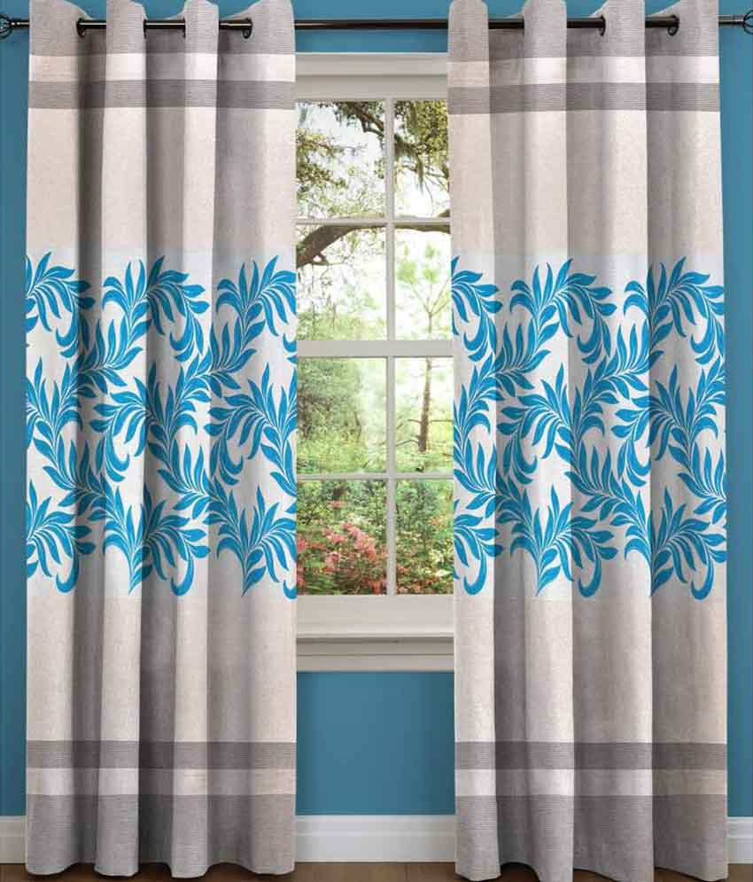 Sn Home Decor Single Long Door Eyelet Curtain Floral Blue Buy Sn Home Decor Single Long Door