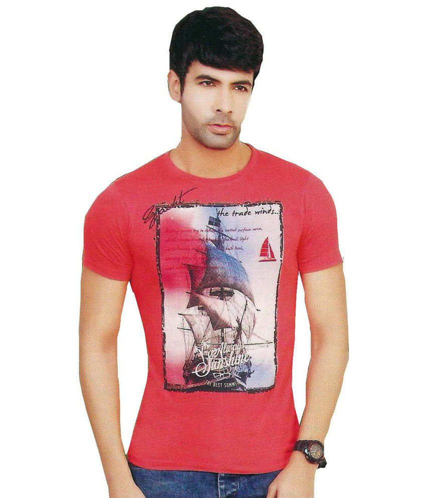 Vsquared Red Cotton Printed T-shirt For Men
