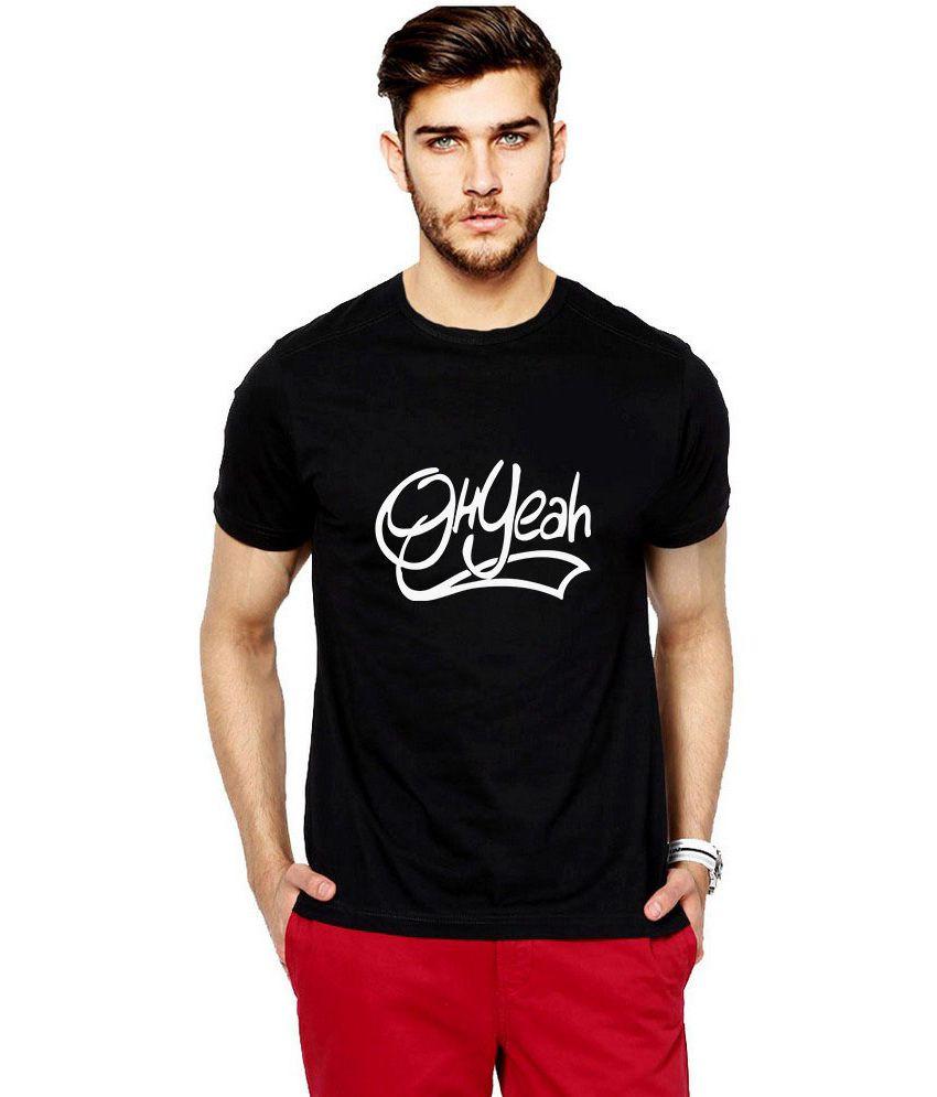 iLyk Men's  Oh Yeah Printed Black T-Shirt