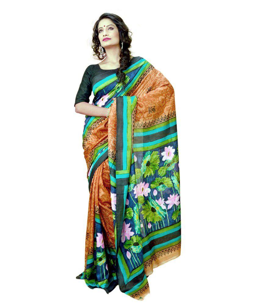 INDIAN SAREE MANDIR Multi Color Silk Bengal Tant Saree