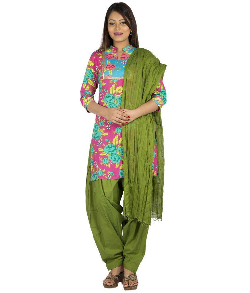 Jaipur Kurti Pure Cotton Complete Set Of Pink Kurta And Mehendi Green Patiala Dupatta