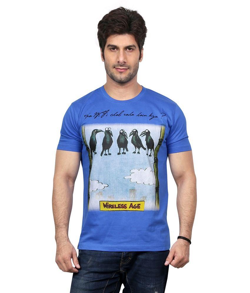 Unfold Blue Cotton Round Neck Half Sleeve T-shirt