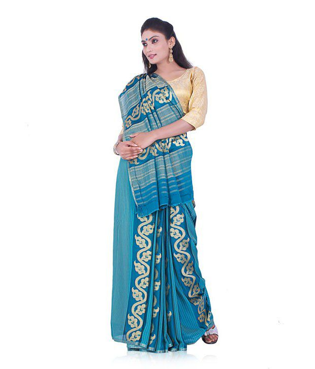 Indusdiva Blue Faux Georgette Embroidered Saree With Blouse Piece