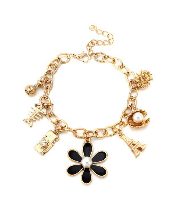 Jewel Touch Black Rose Gold Fish Bone Eiffel Tower Pearl Charm Bracelet
