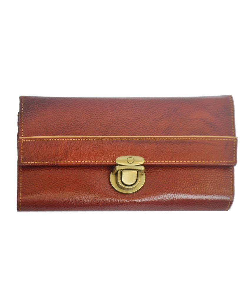 Modish Genuine Leather Clutch Wallet For Women - Brown(brna830)