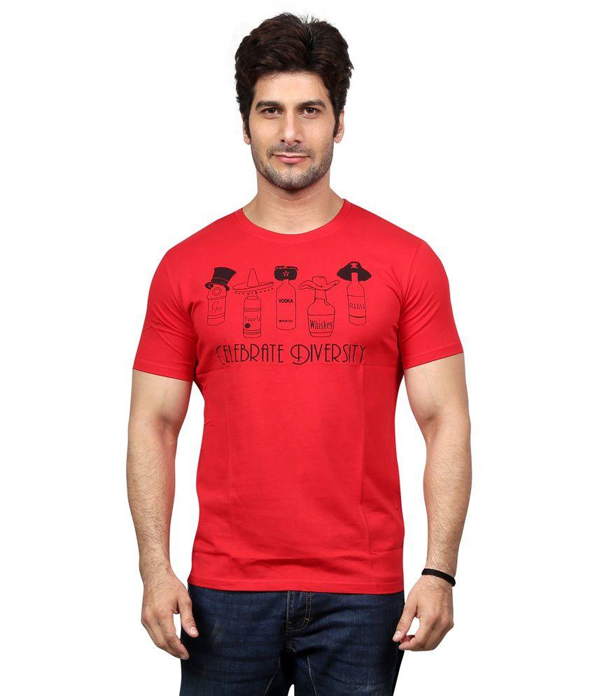 Unfold Red Cotton Round Neck Half Sleeve T-shirt