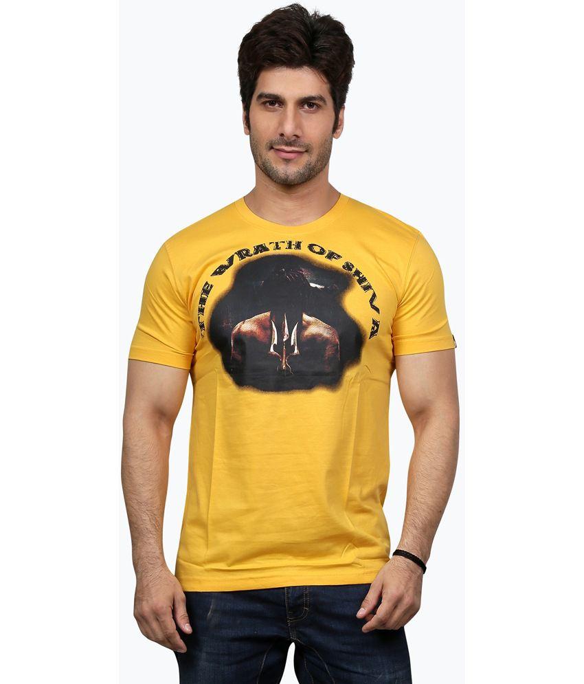 Unfold Yellow Cotton Round Neck Half Sleeve T-shirt