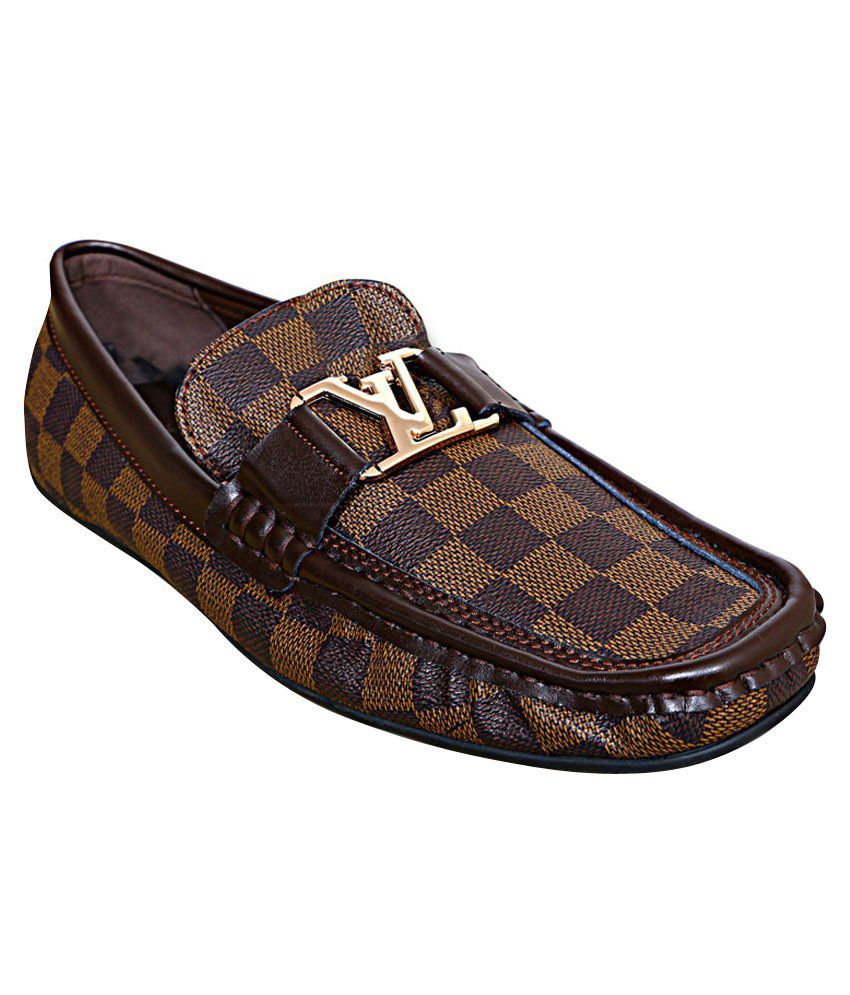 Lv Brown Leather Loafers - Buy Lv Brown
