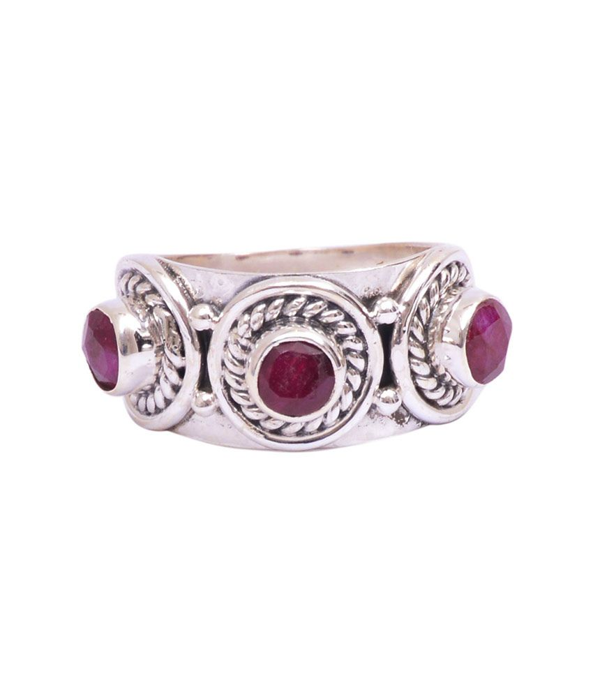 Rubera Sterling Silver Ring With Ruby Stone
