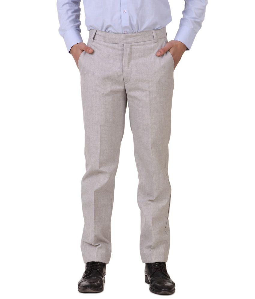 Southern Alps Gray Cotton Blend Regular Fit Formal Mens Trouser