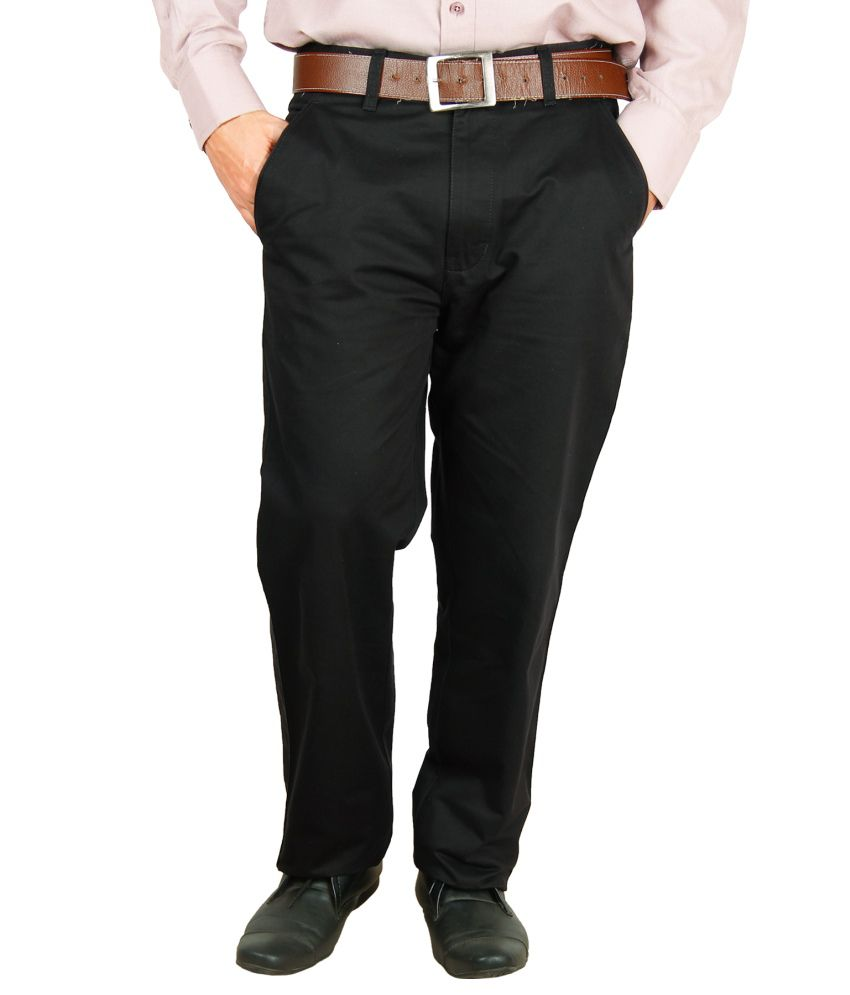 Crocks Club Black Cotton Regular Chinos