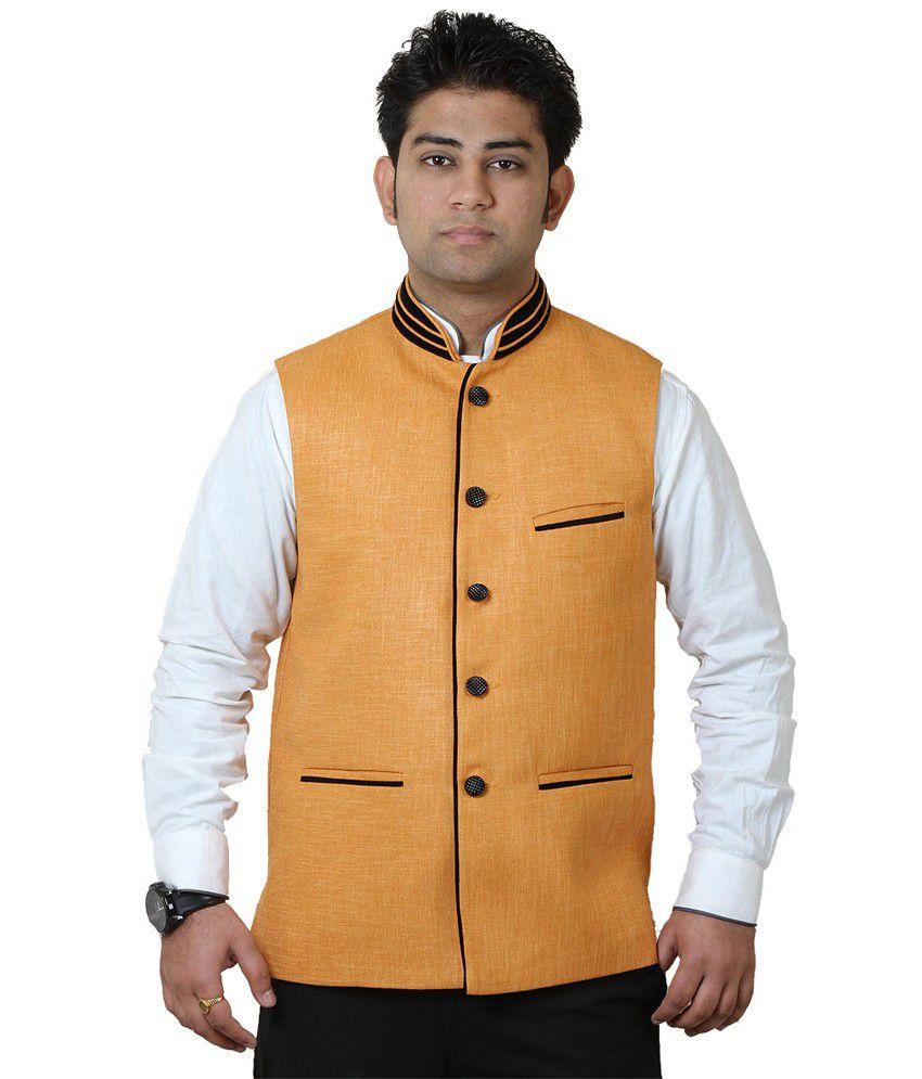 Getabhi Light Orange Jute Modi Jacket - Buy Getabhi Light Orange Jute Modi Jacket Online At Best ...