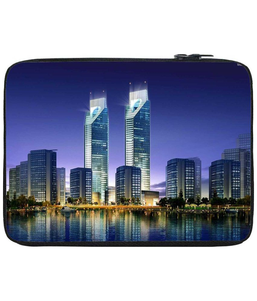 Snoogg Blue & Silver Laptop Sleeve