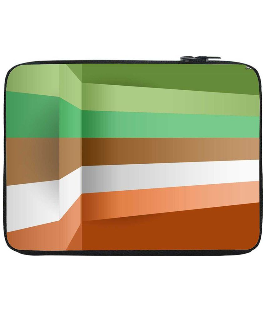 Snoogg Green & Brown Laptop Sleeve