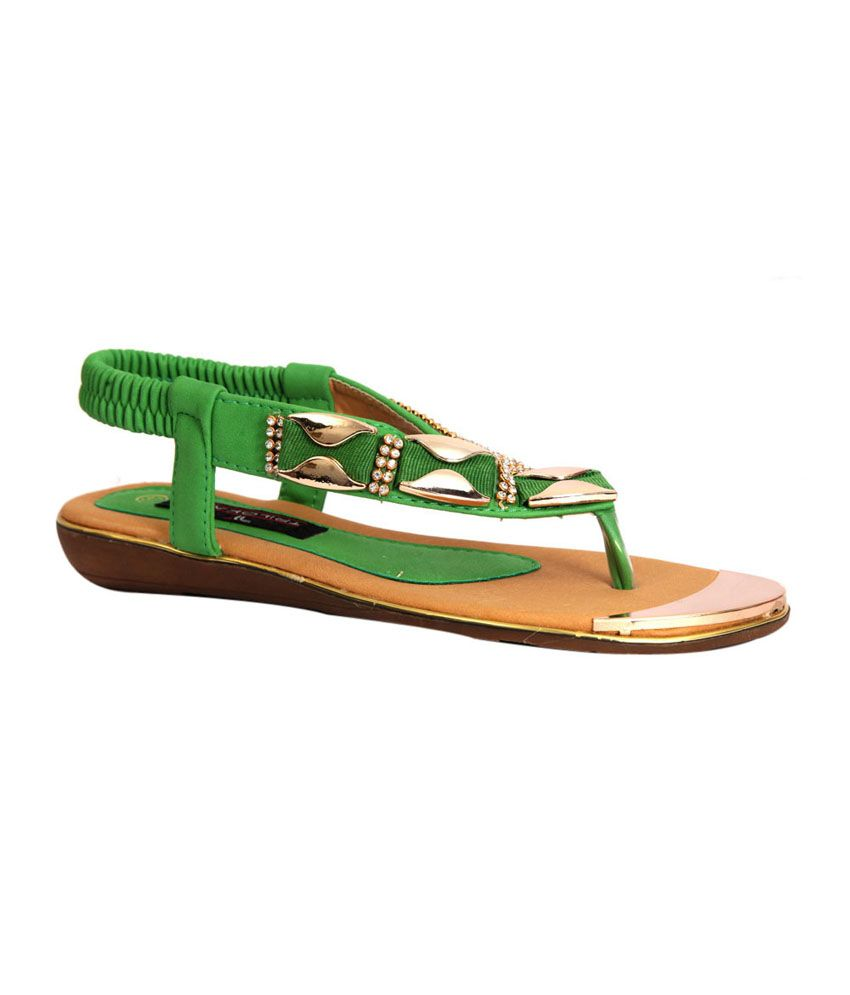 Trilokani Green Synthetic Women's Slipper