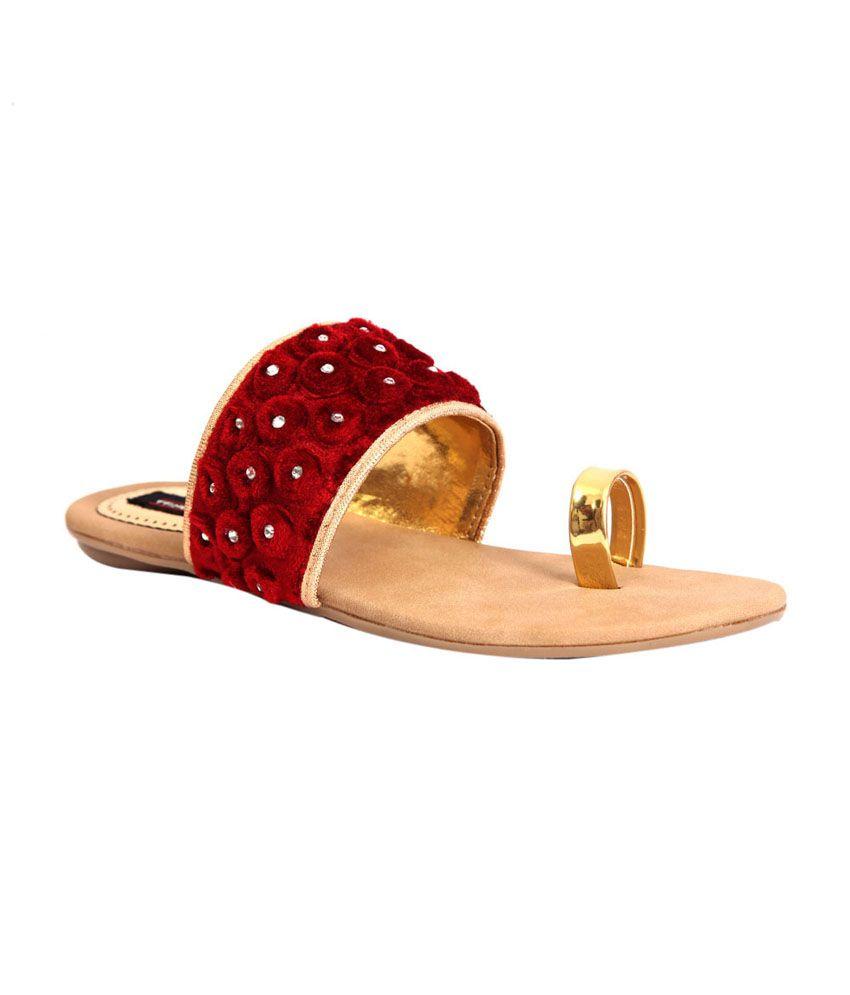 Trilokani Maroon Fabric Women's Slipper