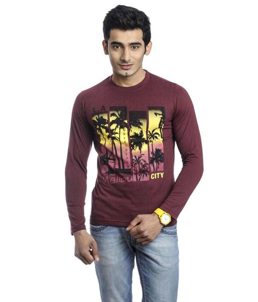 Windus Red Cotton Blend Round Neck Printed T Shirt
