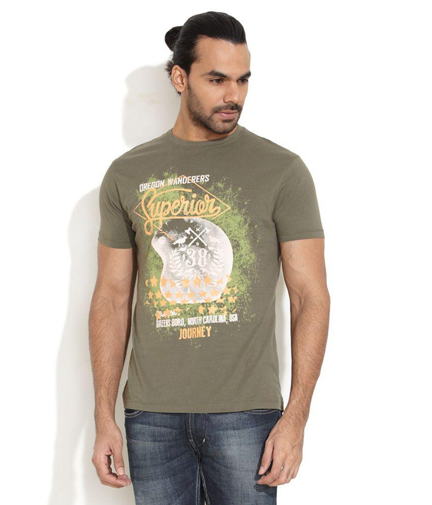 Wrangler Green Cotton  T-Shirt