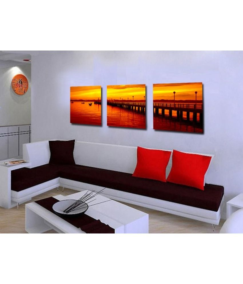 Elite Collection Digitally Printed Frameless Landscape Canvas Painting (Combo of 3)