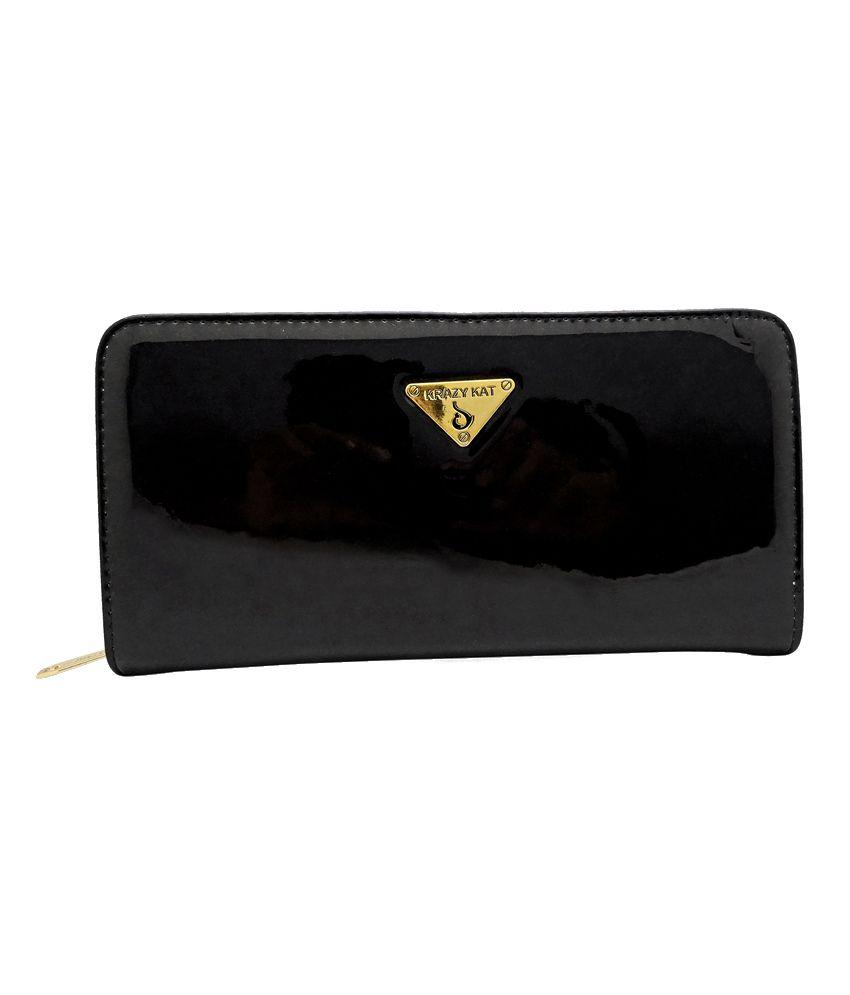 Gemswan Black Women Glossy Regular Wallet