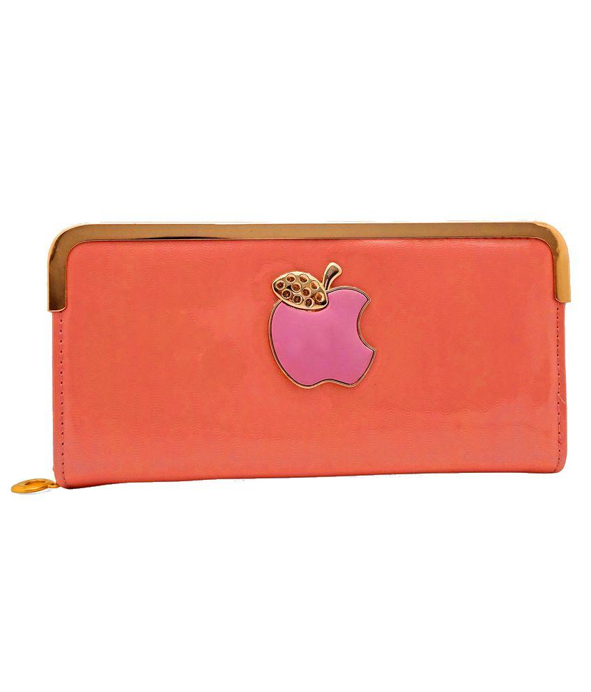Gemswan Orange & Purple Women Glossy Regular Wallet
