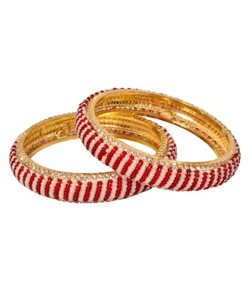 Gold & More Gold Plated Red & White Bangle Kadas (set Of 2)