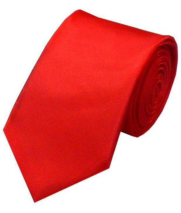 Navaksha Red Micro Fibre Slim Necktie