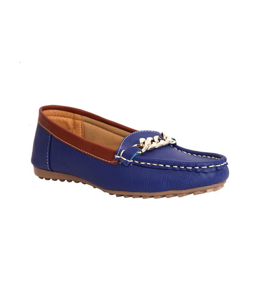 Trilokani Blue Slip-on Loafers For Women
