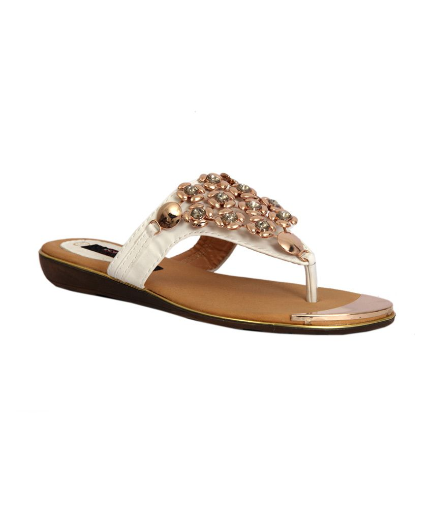Trilokani White Synthetic Slipper at snapdeal